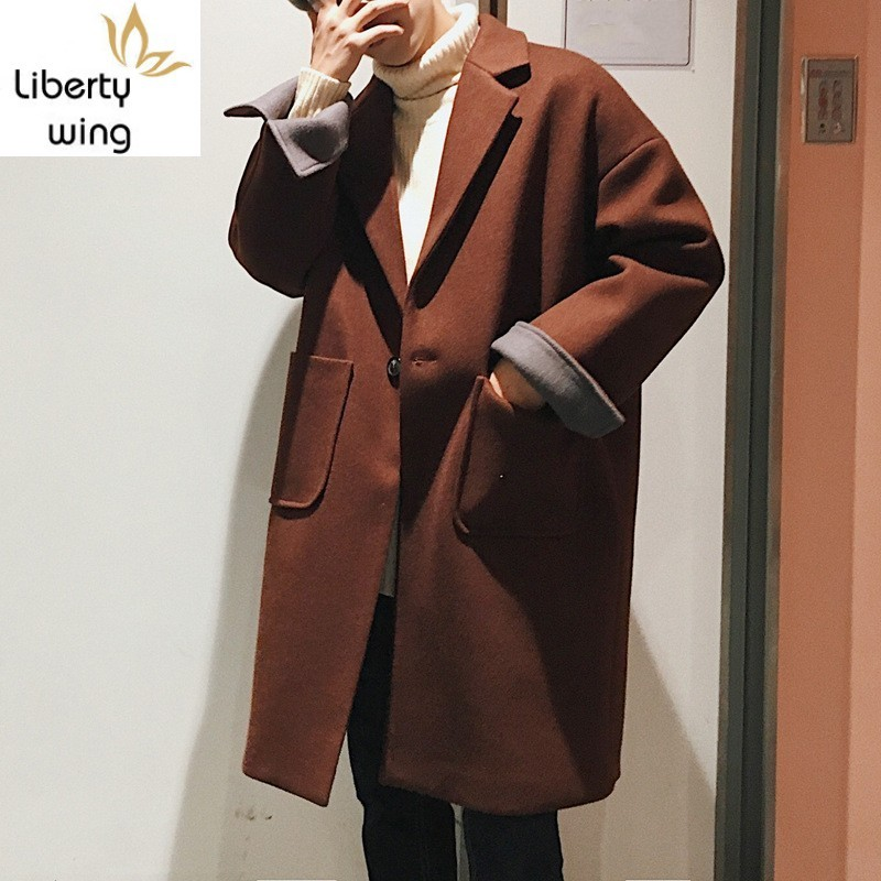 Casual Loose Fit Woolen New Fashion Mens Solid Single Button Long Outerwear Male Winter Warm Lapel Collar Coats M-2XL