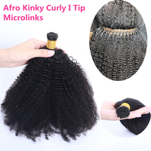 Brazilian Afro Kinky Curly I Tip Microlinks Hair Bulk I Tip Human Hair Extensions 100grams/bundles 1&2&3 Bundles Virgin Hair