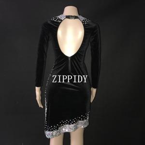 Image 2 - เซ็กซี่เงินหินสีดำชุดเต้นรำละตินชุดเวทีสวมใส่ Sparkly Rhinestones เครื่องแต่งกายวันเกิดพรหมแสดงยืด