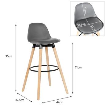 2Pcs/Set Bar Stools Chairs Bar Chair White Beech Wood Legs PP Surface Lounge Chairs Home Office Kitchen Dining Coffee Chairs HWC