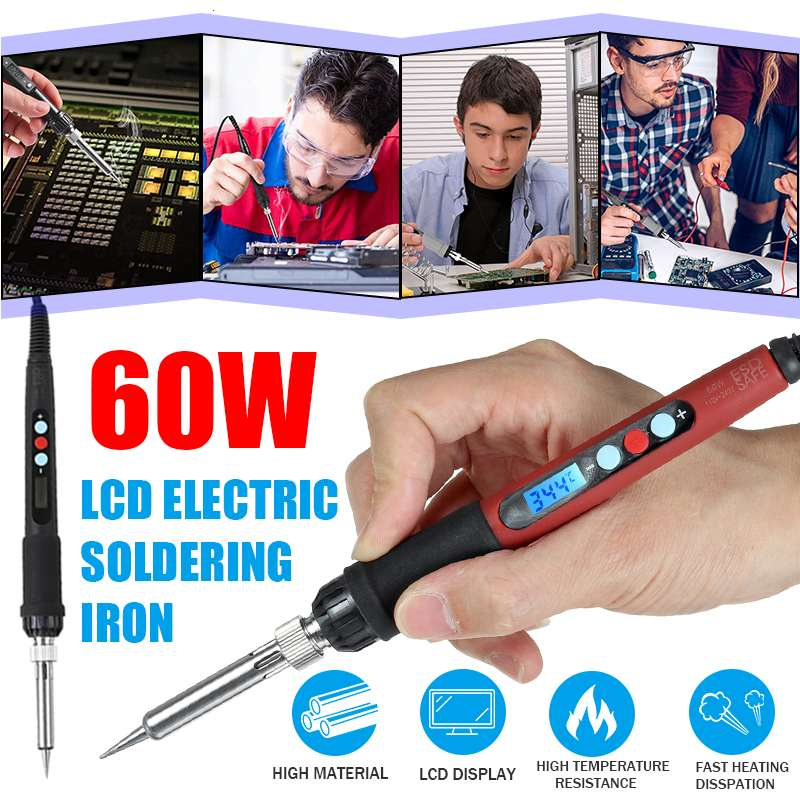 60W EU/US Plug LCD Digital Soldering Iron 110/220V Portable USB Adjustable Temperature Soldering Guns Welding Rework Repair Tool