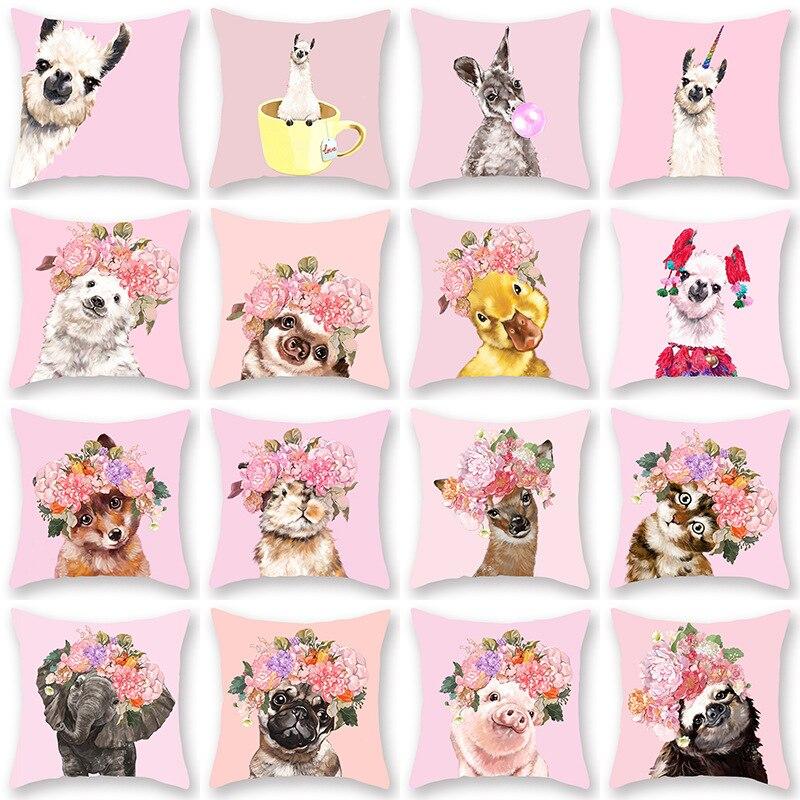 Cartoon Animal Painting Pillowcase Flowers Pink Blue Yellow Green Cat Dog Llama Lumbar Sofa Couch Cushion Cover Home Decoration