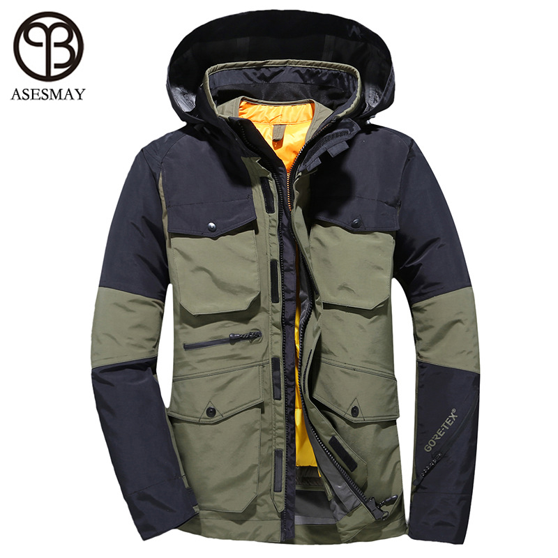 Asesmay 2019 Men Down Jacket Men's Winter Coat Warm Thicken Winter Parkas Multi-function Pocket Hooded Military Snow Outerwear