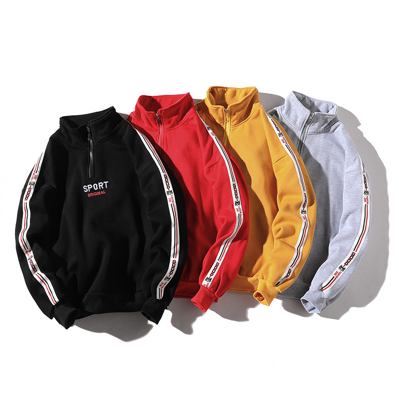 Sweatshirts Men Pullovers Hoodies Letter Spring Streetwear Hip-Hop Fleece Male Casual title=