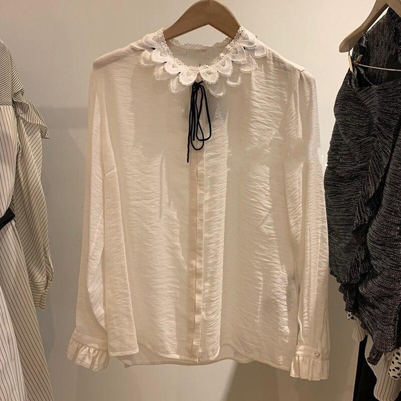 Dentelle blanche mousseline de soie Patchwork Blouses femmes 2019 automne piste Designer élégant arc à manches longues chemises de bureau femme