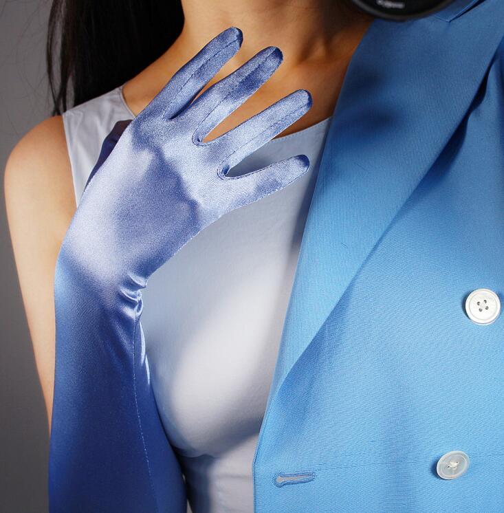 Women's Elegant Pearly Lustre Elastic Long Light Blue Satin Gloves Female Sexy Sunscreen Long Driving Glove R1817