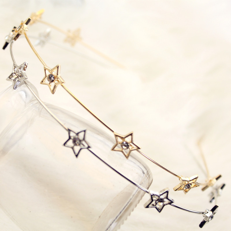 Fashion Gold Sliver Metal Star Hairband for Women Sweet Wedding Hair Accessories Tiara Elegant Girls Headband   Headwear