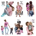 super mom and Son daughter stripes iron on patches heat-sensitive appliques thermo stickers on clothes Iron-on transfers tops