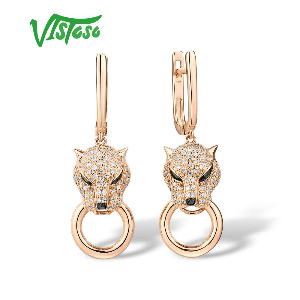 VISTOSO pendientes de oro para las mujeres genuinas 14K 585 Rosa leopardo dorado pendientes esmeralda brillante diamante compromiso joyería fina SANTUZZA, conjunto de joyería de mariposa roja para mujer, anillo blanco CZ, pendientes, colgante de Plata de Ley 925, joyería de moda hecha a mano, esmalte