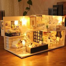 Wooden Dollhouse Cottage Model Miniature Diy Furniture Light Collection Gift Children Toy Mini Villa