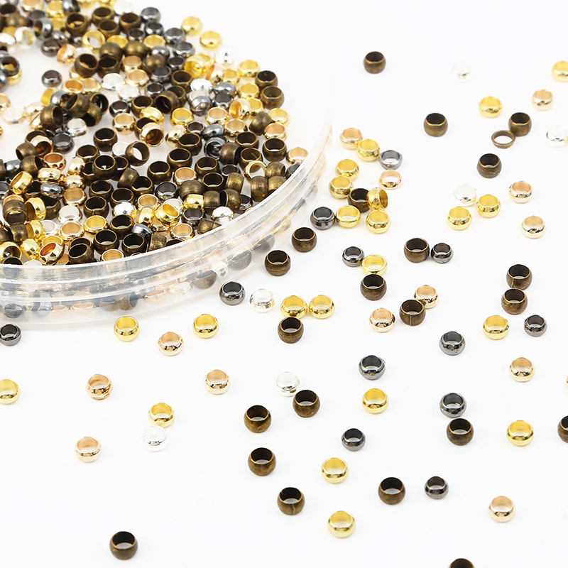 500pcs Copper Ball Crimp End Beads Dia 2mm 2.5mm 3mm Stopper Spacer Beads for Diy Accessories Jewelry Making Findings Supplies
