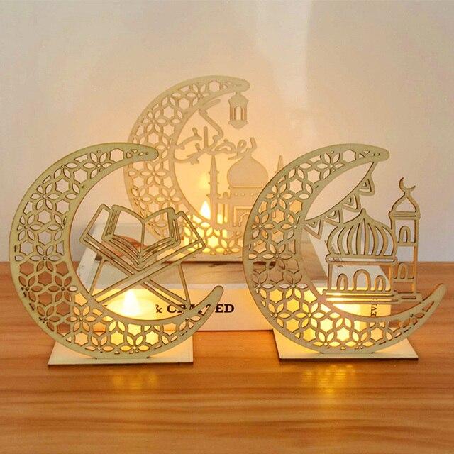EID Mubarak Wooden Pendant with LED Candles Light Ramadan Decorations For Home Islamic Muslim Party Eid Decor Kareem Ramadan 2