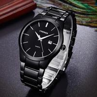 CURREN męskie 30M wodoodporny wojskowy zegarek na co dzień wyświetlacz data luksusowe pasek ze stali nierdzewnej kwarcowy zegarki Relogio Masculino w Zegarki kwarcowe od Zegarki na