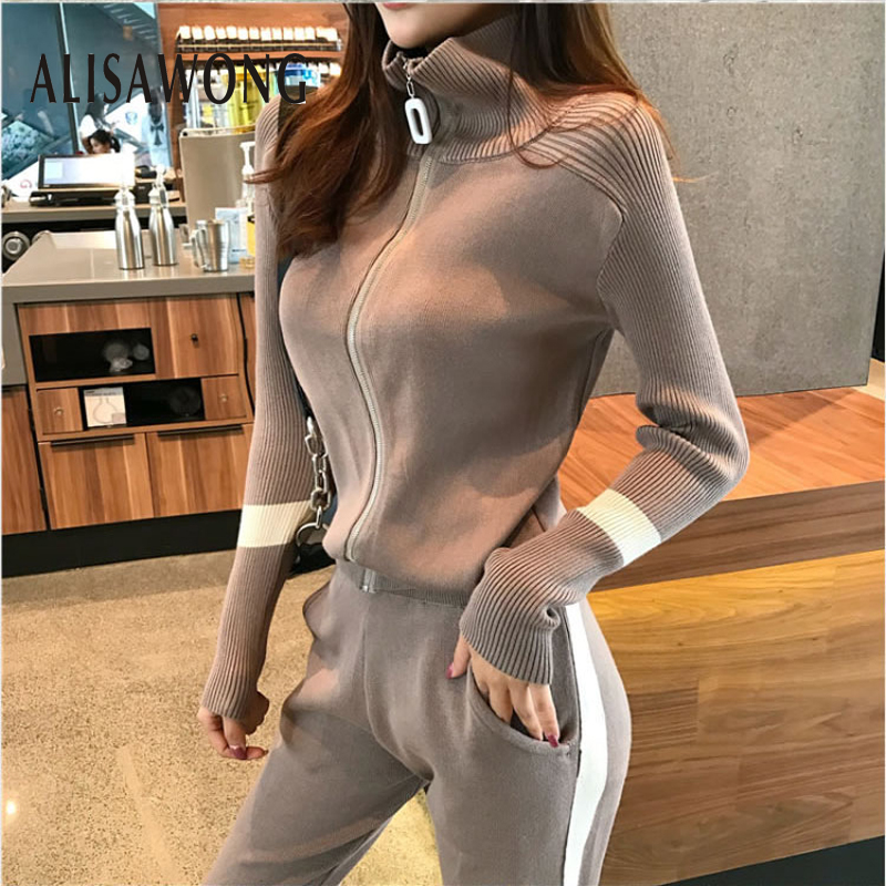 Woman Sportsuits Outfit New 2019 Spring Autumn Zipper Sweater Jacket Top And Long Pant Suits Women Knit Two Piece Sets Clothes