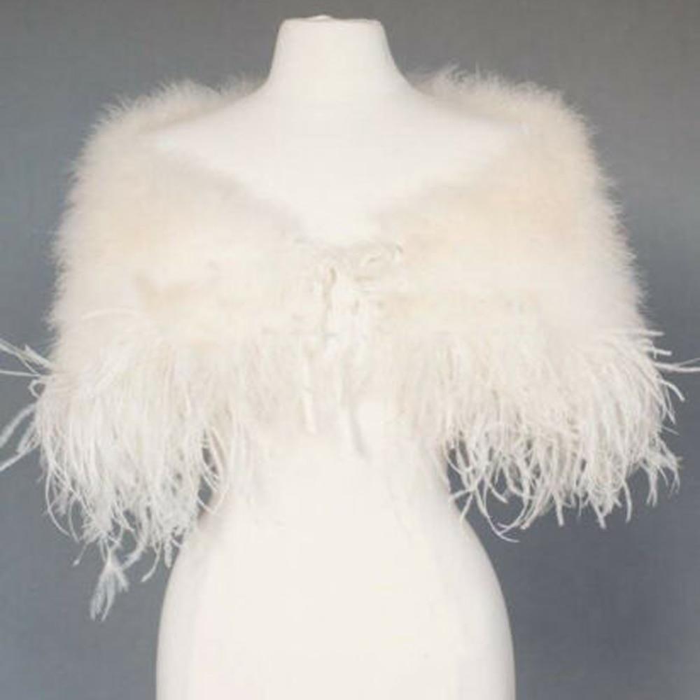 Elegant Ostrich Feather Wedding Capes Wraps Ivory Faux Fur Bridal Jackets Bolero