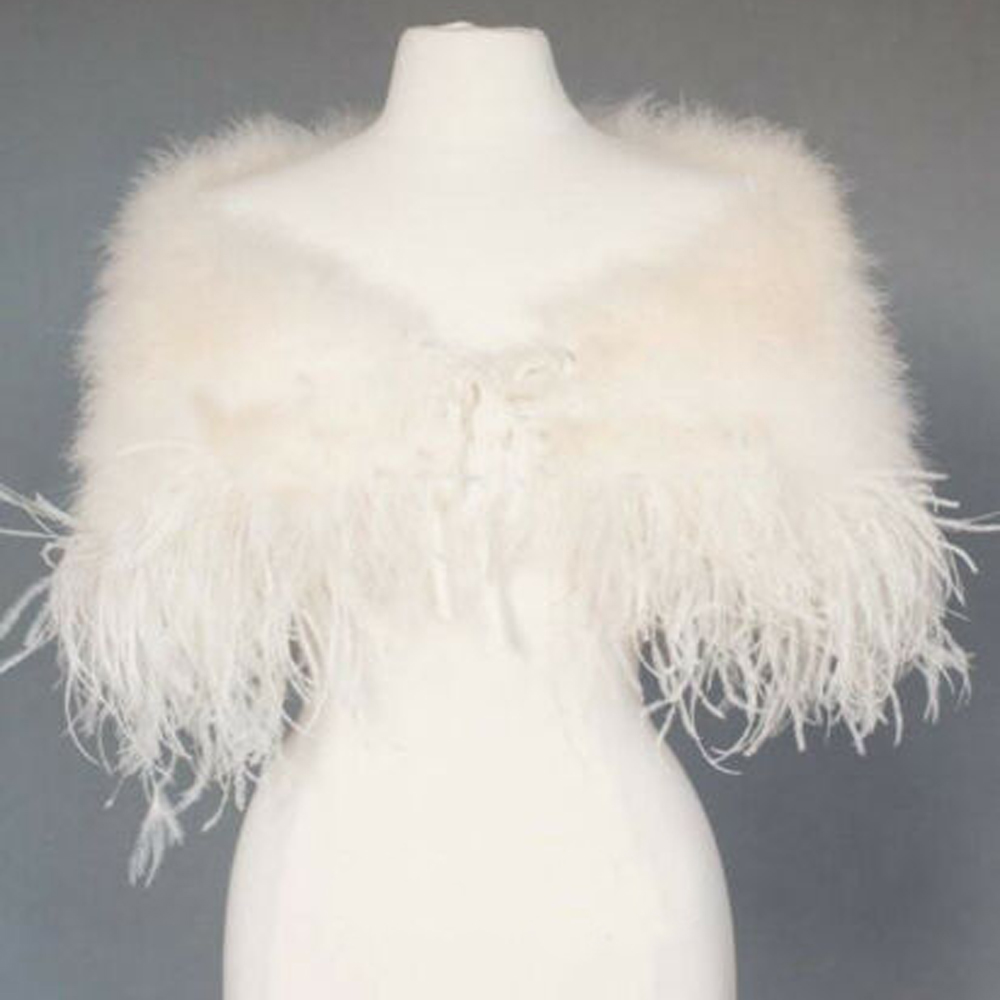 Elegant Ostrich Feather Wedding Capes Wraps Ivory Faux Fur Bridal Jackets Champagne Fur Bolero