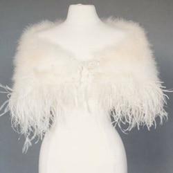 Elegant Ostrich Feather Wedding Capes Wraps Ivory Faux Fur Bridal Jackets Champagne Fur Bolero