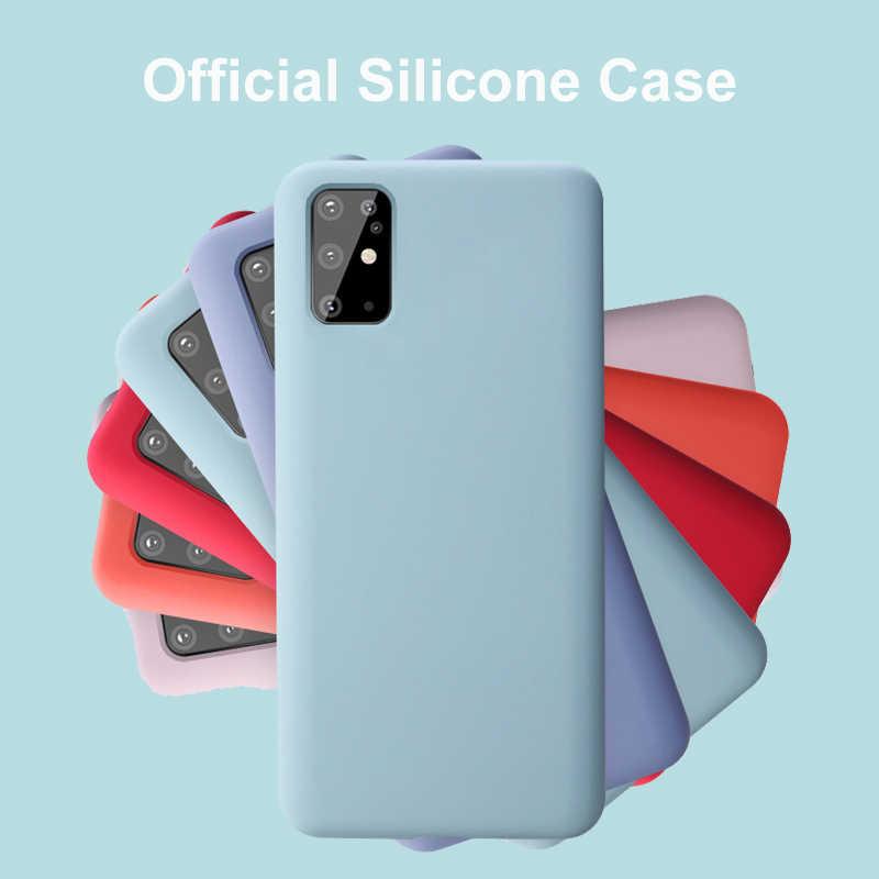 قضية الهاتف لسامسونج غالاكسي S20 الترا S20 زائد + 5G غطاء فاخر كامل السائل سيليكون الرسمية المخملية الأصلي