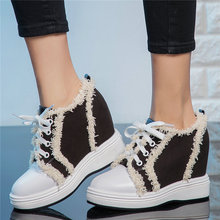 Fashion Sneakers Women Lace Up Cow Leather Platform Wedges High Heel Ankle Boots Female Canvas Trainers Tennis Shoe Casual Shoes punk trainers women cow leather wedges high heel platform pumps shoes female lace up tennis shoes embroider flowers casual shoes