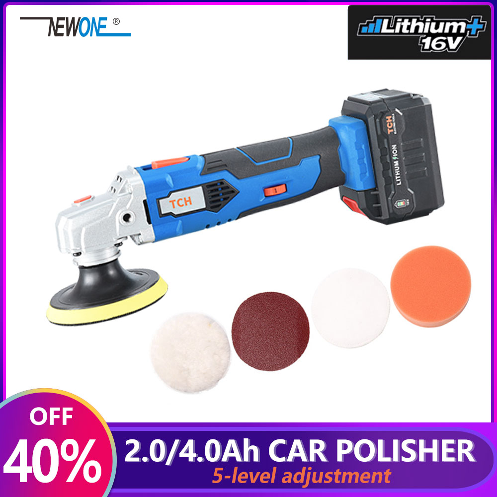 TCH Waxing Machine With 16V Lithium Battery Portable Cordless Car Polisher 5-level Adjustable Speed Polishing Machine M10 Thread