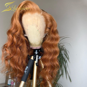 Ginger Wig Orange Loose Deep Wave Lace Front Colored Human Hair Wigs 13x6 Frontal Honey Blonde Lace Front Wigs Can Make 360 Buns(China)