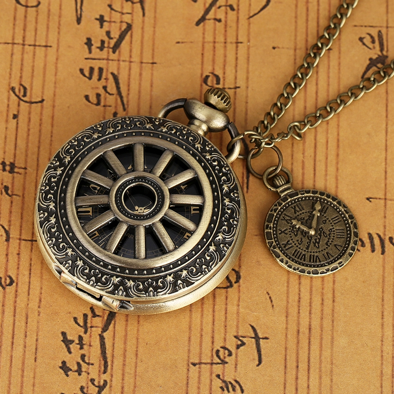 Men Women Necklace Pendant Bronze Hollow Wheel Gear Case Quartz Pocket Watch Retro Roman Numeral Dial Chain Clock With Accessory