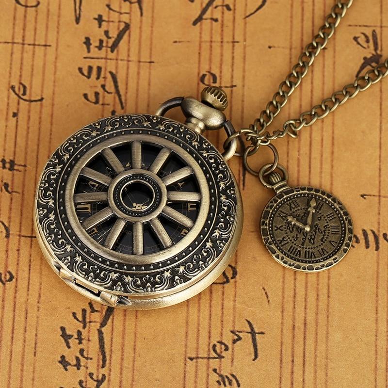 Men Women Necklace Pendant Bronze Hollow Wheel Gear Case Quartz Pocket Watch Retro Roman Numeral Dial Chain Clock With Accessory