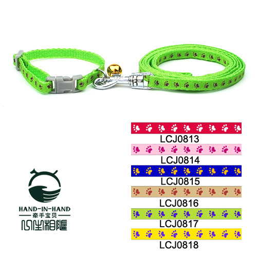 Hand-in-hand Pet Footprints Neck Ring Traction Belt 0.8 Cm 6 Color Selectable Puppy Dog Cat Collar Hand Holding Rope