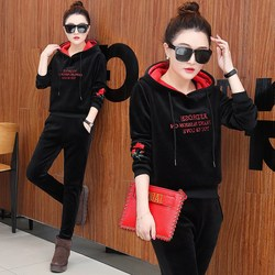 Womens 2 piece set autumn and winter velvet long-sleeved fashion sweatshirt full hoodie casual tops pants sports embroidery