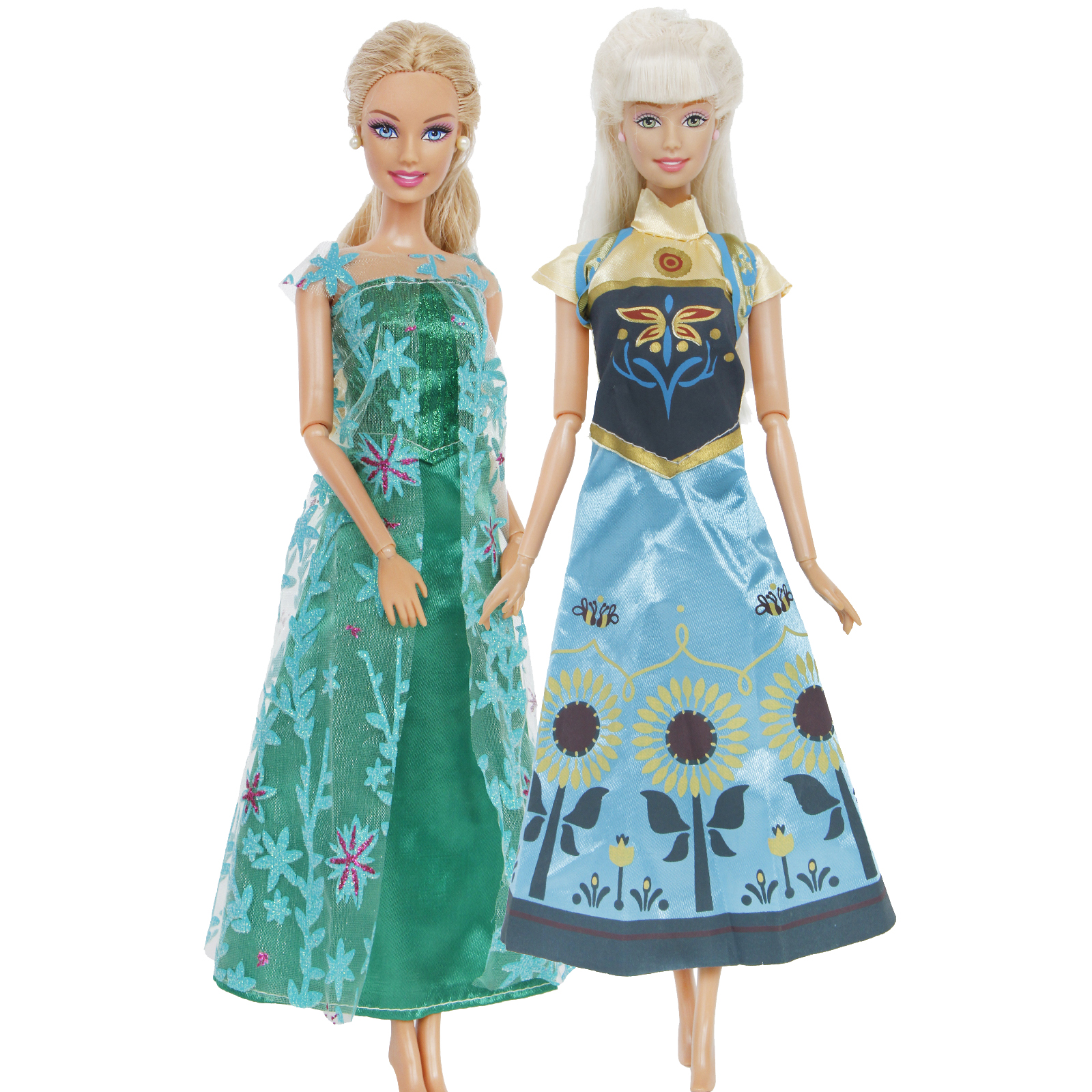 2 Pcs / Set Fairy Tale Princess Dress Elsa+ Anna Wedding Party Wear Twins Clothes For Barbie Doll Accessories 12'' Kids Toy