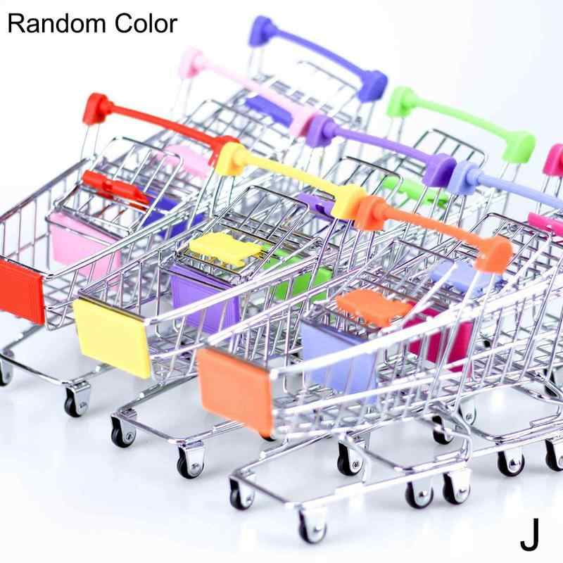 Dongzhur 1pc Mini Shopping Cart Supermarket Handcart Storage Trolley Toy Office Decor Wonderful Gift Toy For Children