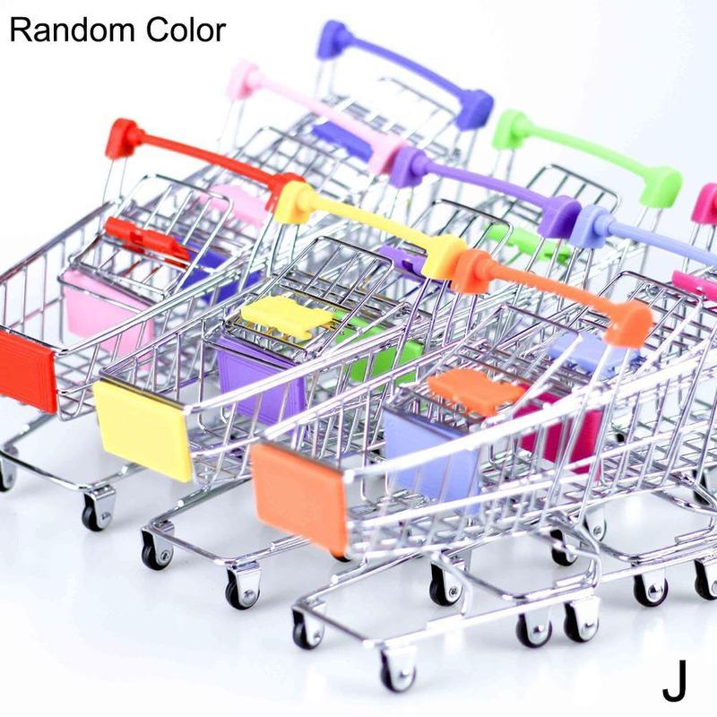 Dongzhur 1pc Mini Shopping Cart Supermarket Handcart Storage Trolley Toy Office Decor Wonderful Gift Toy For Children