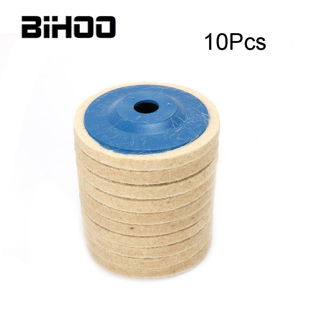 10Pcs 100mm Wool Polishing Wheel Blue Cover Buffing Pads Felt Polishing Disc For Metal Marble Glass Ceramics