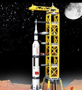 Image 5 - Ewellsold צעצועי תחנת החלל שבתאי V רקטות אבני בניין לילדים עיר הסעות לווין אסטרונאוט איור לבנים