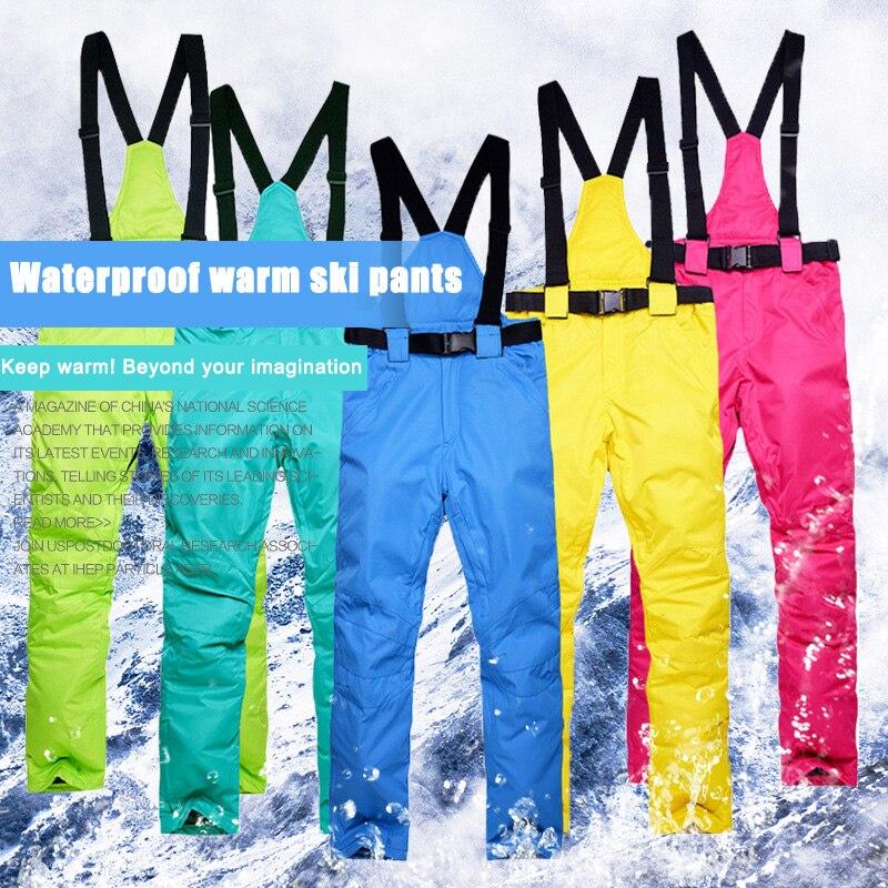 Ski Snow Pants Windproof Warm Waterproof Trousers For Women Men Outdoor Winter ENA88