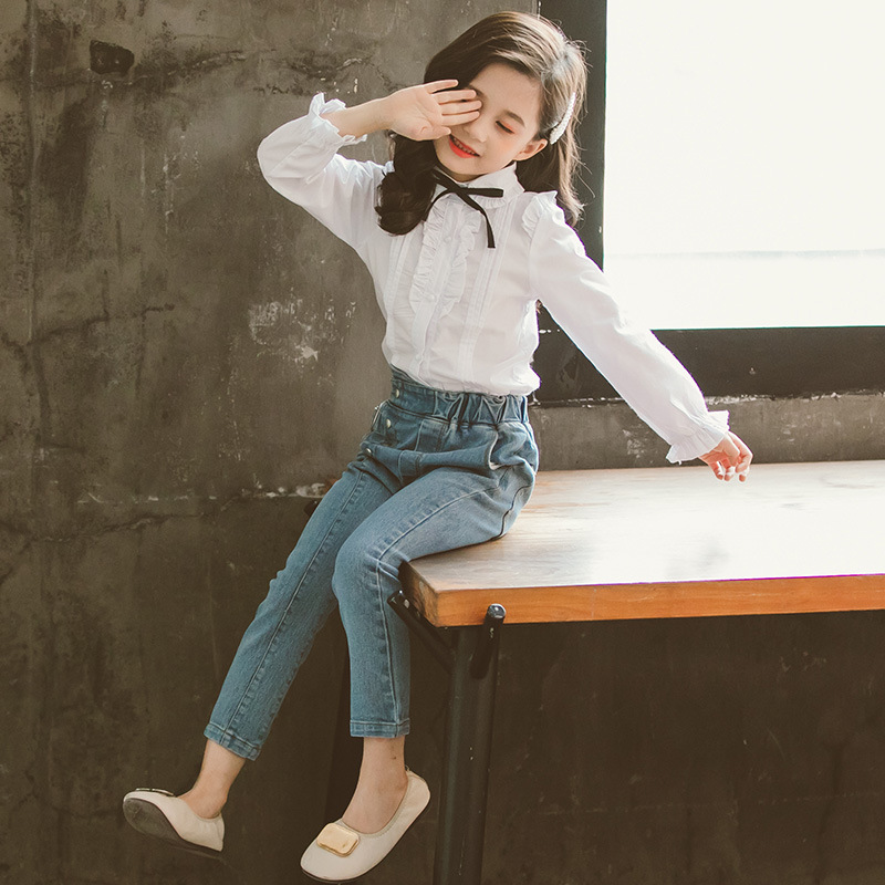 Childrens clothing new 2019 autumn white shirt+jeans 2pcs big girls clothing set autumn teens girls clothes jeans suit 4