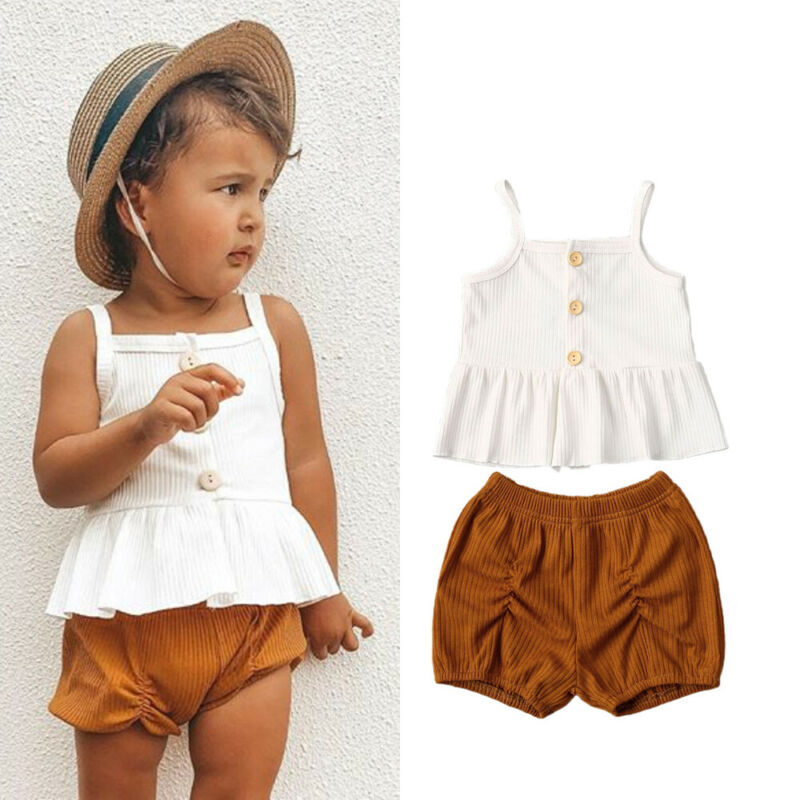 Details about  /Toddler Baby Girls Kids Solid Straps Tops+Tulle Pants Summer Outfits Clothes Set