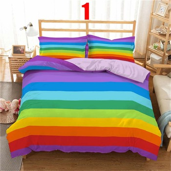 WOSTAR 3d Rainbow Stripe Printed Comforter Bedding Sets Modern Geometric Twin Queen Size Polyester Duvet Cover For home decor 9