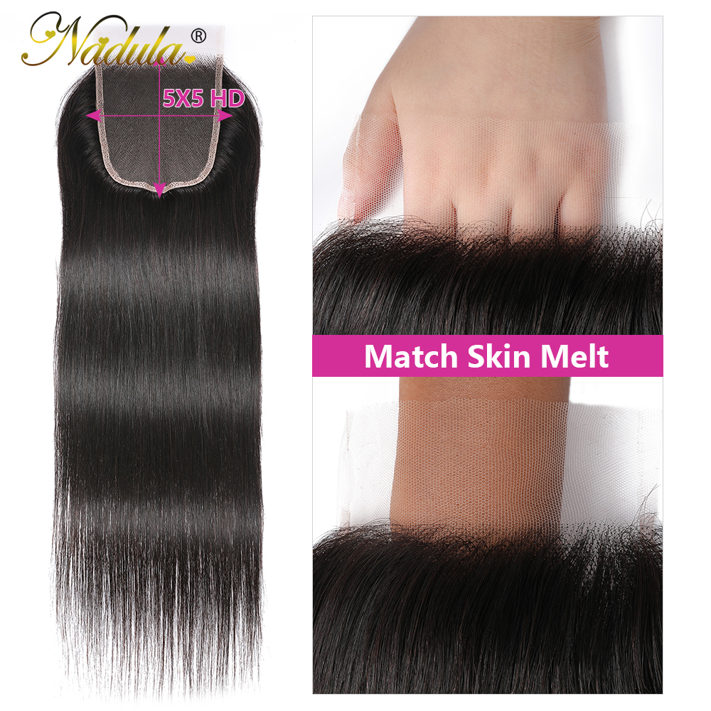 Nadula Hair HD Lace Closure Middle/Free Part Closure Indian Straight Hair Natural Color  Hair 10-20Inch Swiss Lace Closure 4