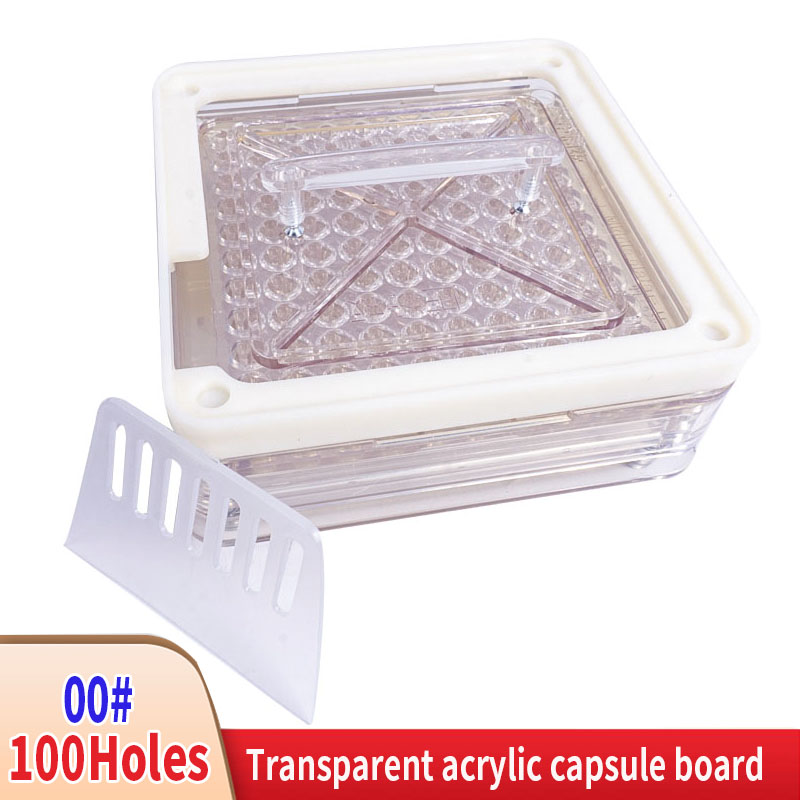 00 # 100 Hole Manual Capsule Filling Machine Transparent Acrylic Capsule Plate Filler Filler Capsule Filling Plate