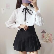 Lolita-Shirt Lantern Sleeve White Sweet Kawaii Girl Top-Cos Daily Bowknot Preppy-Style