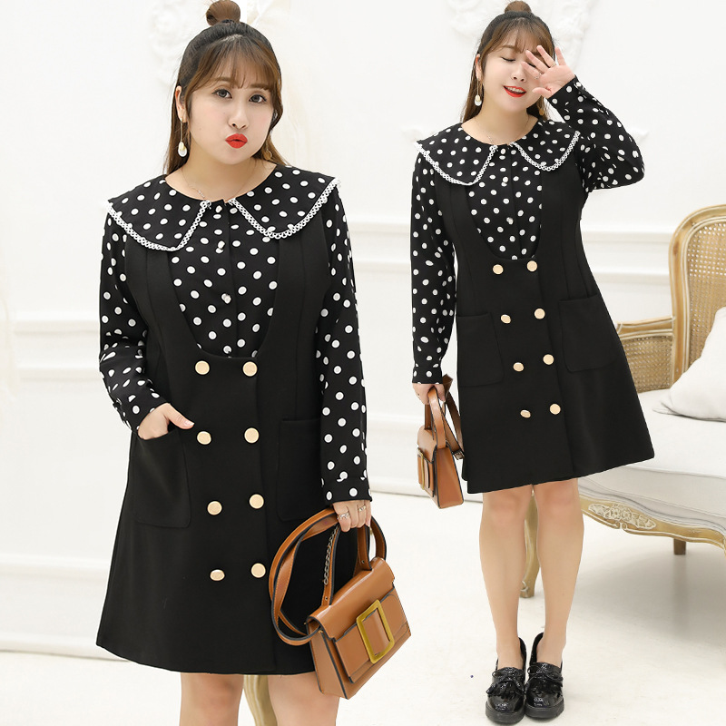 2019 Spring Clothing New Style Large GIRL'S Plus-sized WOMEN'S Dress Sweet Polka Dot Two-Piece Set Full Body Dress Y027 H