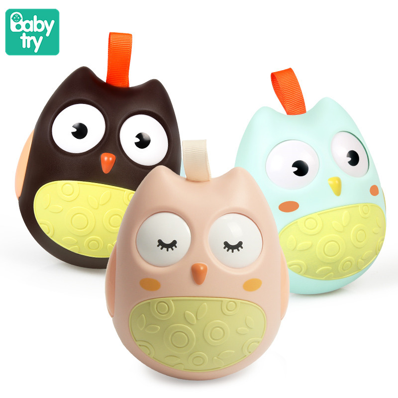 Baby Owl Tumbler Moving Eyes Doll Roly Poly Bed Stroller Rattles Baby Toddler Toys For Newborn Educational Gifts Over 3 Months