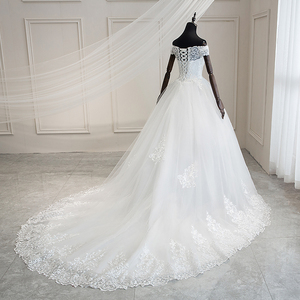 Image 4 - Mrs Win 2020 Luxury Lace Embroidery Wedding Dresses Off The Shoulder 100cm Long Train Sweetheart Vestido De Noiva