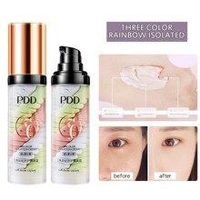 Três-cor base primer encolher poro rosto hidratante duradouro controle de óleo fosco fezes de pássaro isolamento creme corretivo maquiagem tslm1
