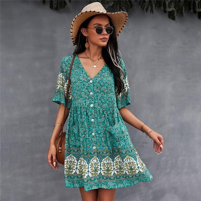 2021 Spring Print Short Dress Women Casual V Neck Bohemian Short Sleeve Dress For Woman Fashion Sexy Summer Dress 2
