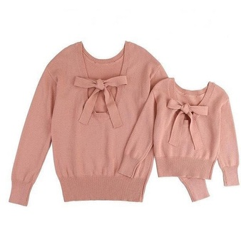 bow matching mother daughter sweaters mommy and me clothes family outfits look women and girls mom mum and baby sweater clothing
