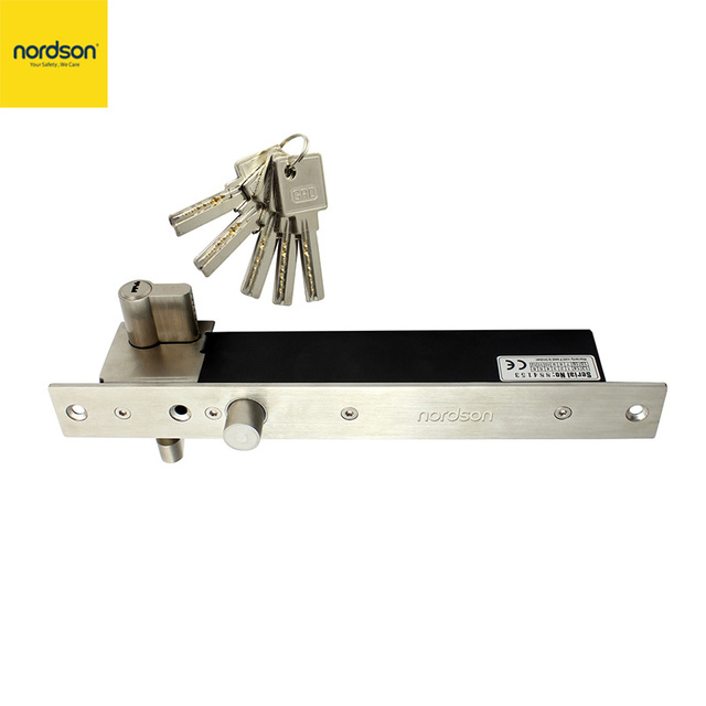Nordson Original Metal Electric Solenoid Bolt Lock with Mort Lock Cylinder DC12V Fail Secure Door Lock for Access Control System