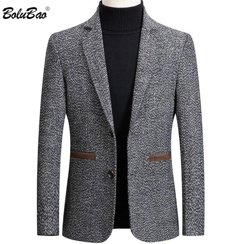 BOLUBAO Brand Men Blazer Wild Retro Prom Men's Suit Jacket High Quality Fashion British Style Slim Fit Warm Casual Blazer Male 1
