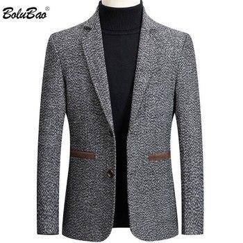 BOLUBAO Brand Men Blazer Wild Retro Prom Men's Suit Jacket High Quality Fashion British Style Slim Fit Warm Casual Blazer Male
